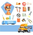 Long-Distance Truck Driver And Elements Related To vector image