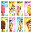 Ice cream menu price tags color sketch vector image vector image