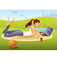 Fashion girl with laptop in the park vector image vector image
