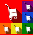 hand truck sign set of icons with flat vector image