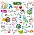 tea doodles vector image