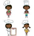 African-American chef girls vector image vector image
