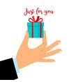 man hand holding gift box vector image