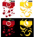 set template of cherry and banana fruit vector image