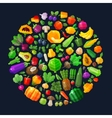 vegetables and fruits in the circle fresh food vector image