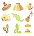 Mexican Culture Symbols Set vector image