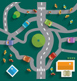 Top View City Map Abstract Town Flat Design vector image