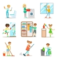 Children Helping With Home Cleanup Washing The vector image