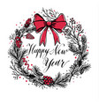 hand drawn christmas wreath with red bow and vector image