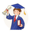 Student in graduate suit vector image