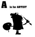 Artist cartoon silhouette vector image vector image