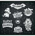 Chalk Halloween Labels on Blackboard Background vector image vector image