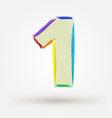 Alphabet letter number one Watercolor paint design vector image