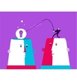 Two heads with man who catch the bulb vector image
