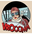 Retro Aviator woman on the plane vector image
