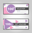 Pink and purple gift voucher template layout set vector image
