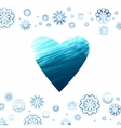 Acrylic background with a heart and snowflakes vector image