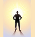black silhouette of man standing in bright vector image