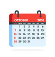 calendar for 2018 year full month of october icon vector image