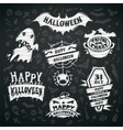 Chalk Halloween Labels on Blackboard Background vector image