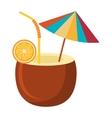 coconut drink and beach umbrella graphic vector image