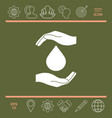 hands holding drop - protection icon vector image