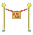 Red rope barrier with sign do not touch icon vector image