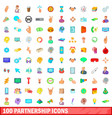 100 partnership icons set cartoon style vector image