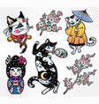 Set of flash style japanese cat patches stickers vector image