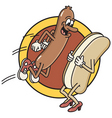 hot dog jumps into bun vector image