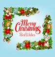 christmas card with xmas tree gift frame corner vector image