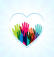 Colors hands up in hearts shape vector image