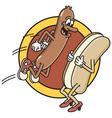 Hot dog jumps into bun vector image