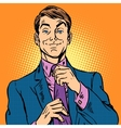 man in a suit and pink shirt dude vector image