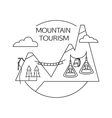 Mountain tourism outline background Minimalistic vector image