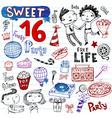 sweet 16 doodles vector image