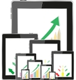 Business dashboard with graphs in a pc tablet vector image vector image