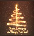 shining christmas tree on orange vector image