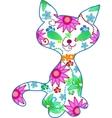 floral kitten illustration vector image vector image