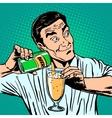 bartender pours beer vector image