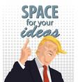 cartoon portrait of donald trump giving a speech vector image