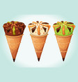 classic ice cream cones set vector image
