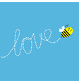 Flying bee Dash word Love in the sky Card vector image