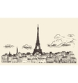 Paris skyline France eiffel sketch drawn vector image