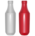 Red and white plastic template bottle for ketchup vector image
