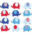 Navy Blue and Red Cute Elephant set vector image vector image