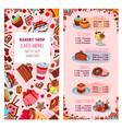 menu template for bakery shop desserts vector image