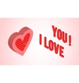 Valentines day card with isometric heart vector image