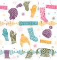 Knitted winter clothes vector image