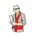 Japanese Butcher Holding Meat Cleaver Knife vector image